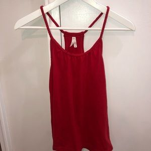 Color story Red braided tank top